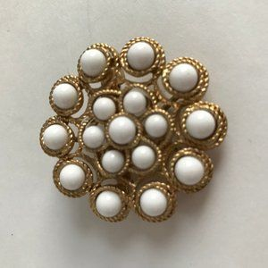 Vintage Gold Tone and White Stones Pendant Brooch